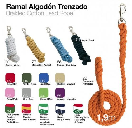 Plaited cotton lead rope